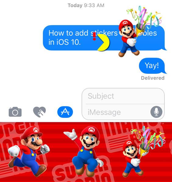 Añada adhesivos a las burbujas de mensajes
