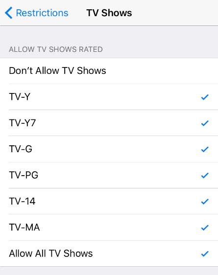 Clasificaciones de TV iOS