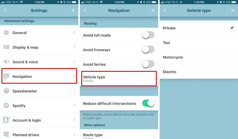 Cómo cambiar el tipo de vehículo a Waze al iPhone.