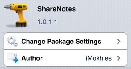 ShareNotes retoca Cydia iOS