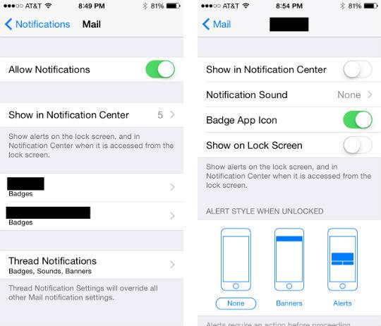 Como se configuran las notificaciones de los hilos de correo electrónico a iOS 8