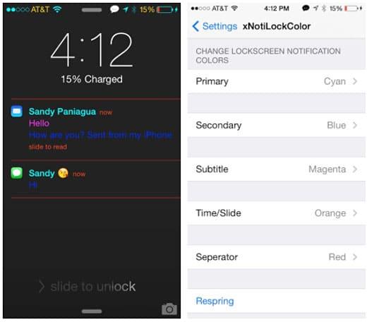iOS 7 jailbreak xNotiLockColor