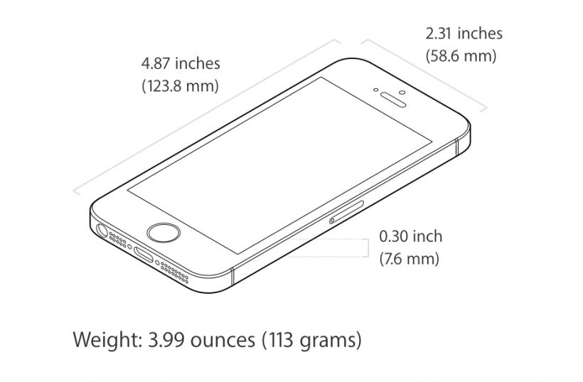Peso y dimensiones del iPhone SE