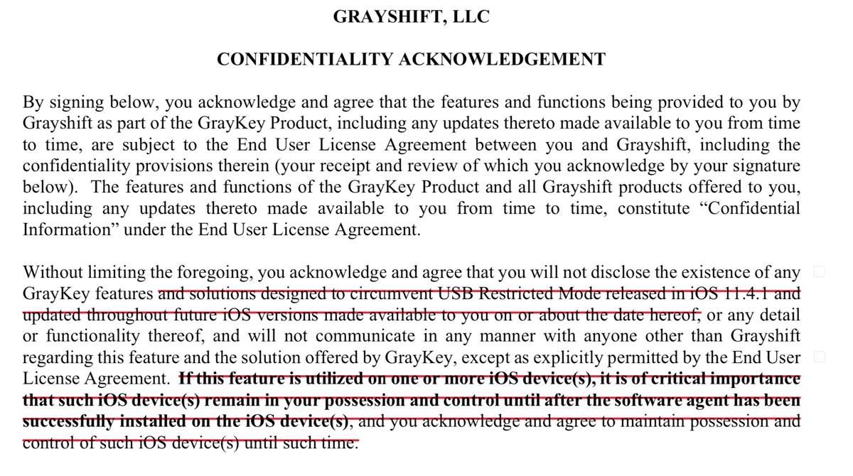 Extracto del contrato Grayshift obtenido por Motherboard