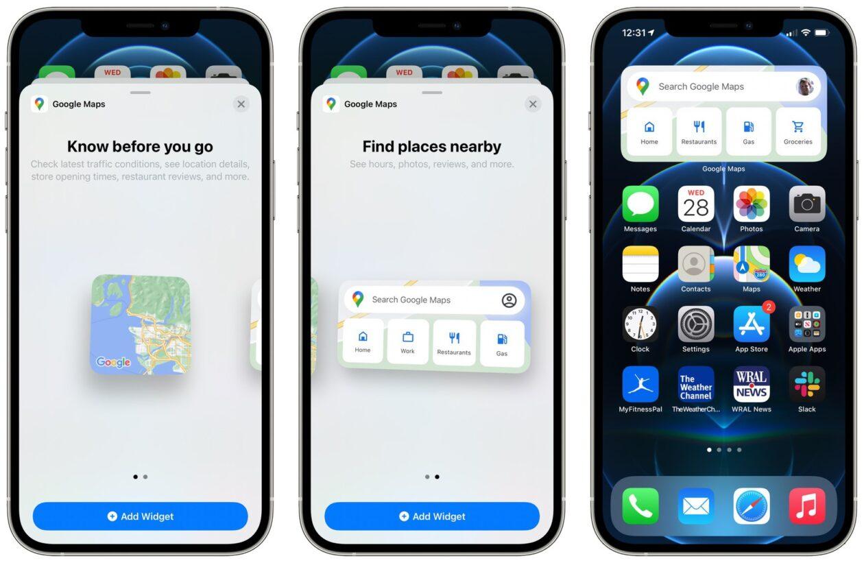 Widgets de Google Maps en iPhone