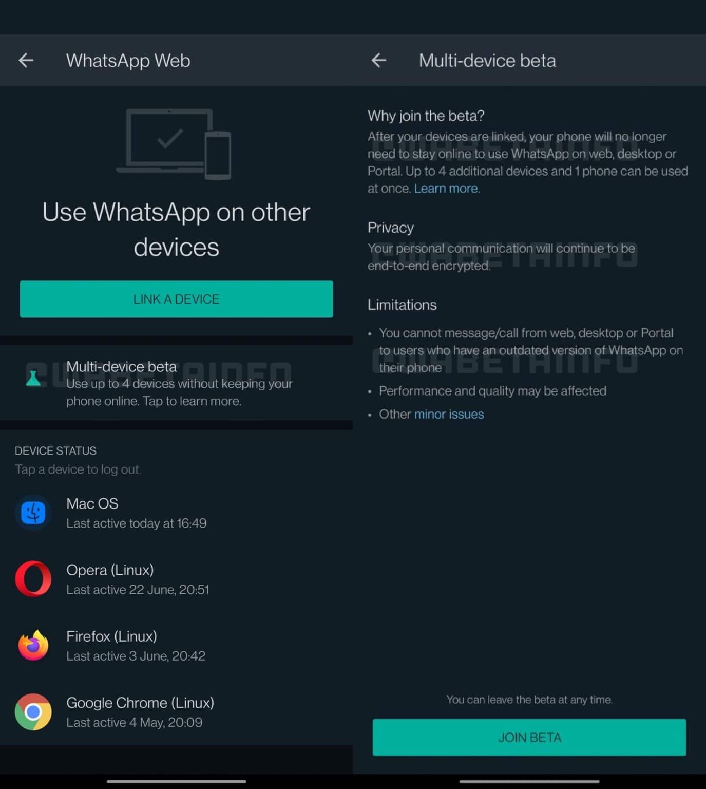 WhatsApp en múltiples dispositivos