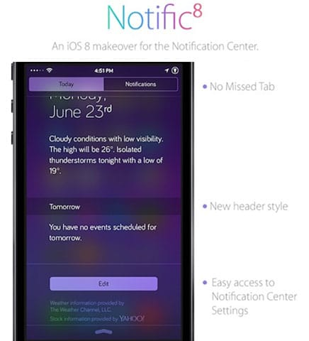Rediseño del centro de notificaciones de jailbreak de iOS 7