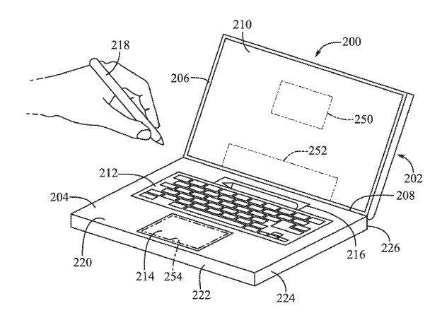 Dibujo de patente de Apple Pencil en MacBook