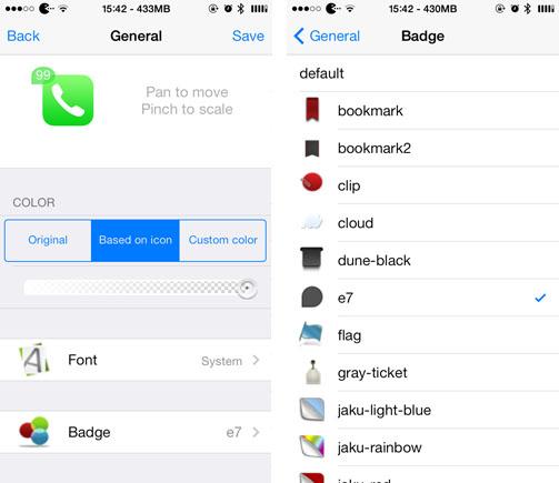 Personalización de la insignia del icono del jailbreak de IOS 7