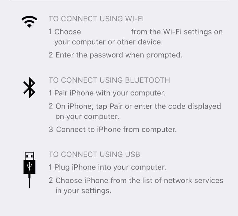 Punto de acceso personal para iOS