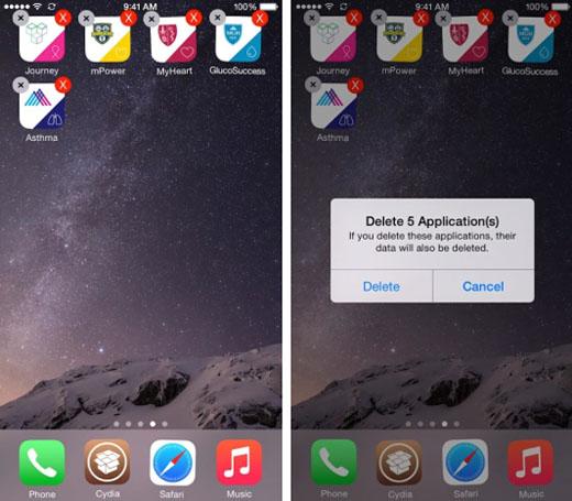 iOS 8 suprime los iconos de la aplicación