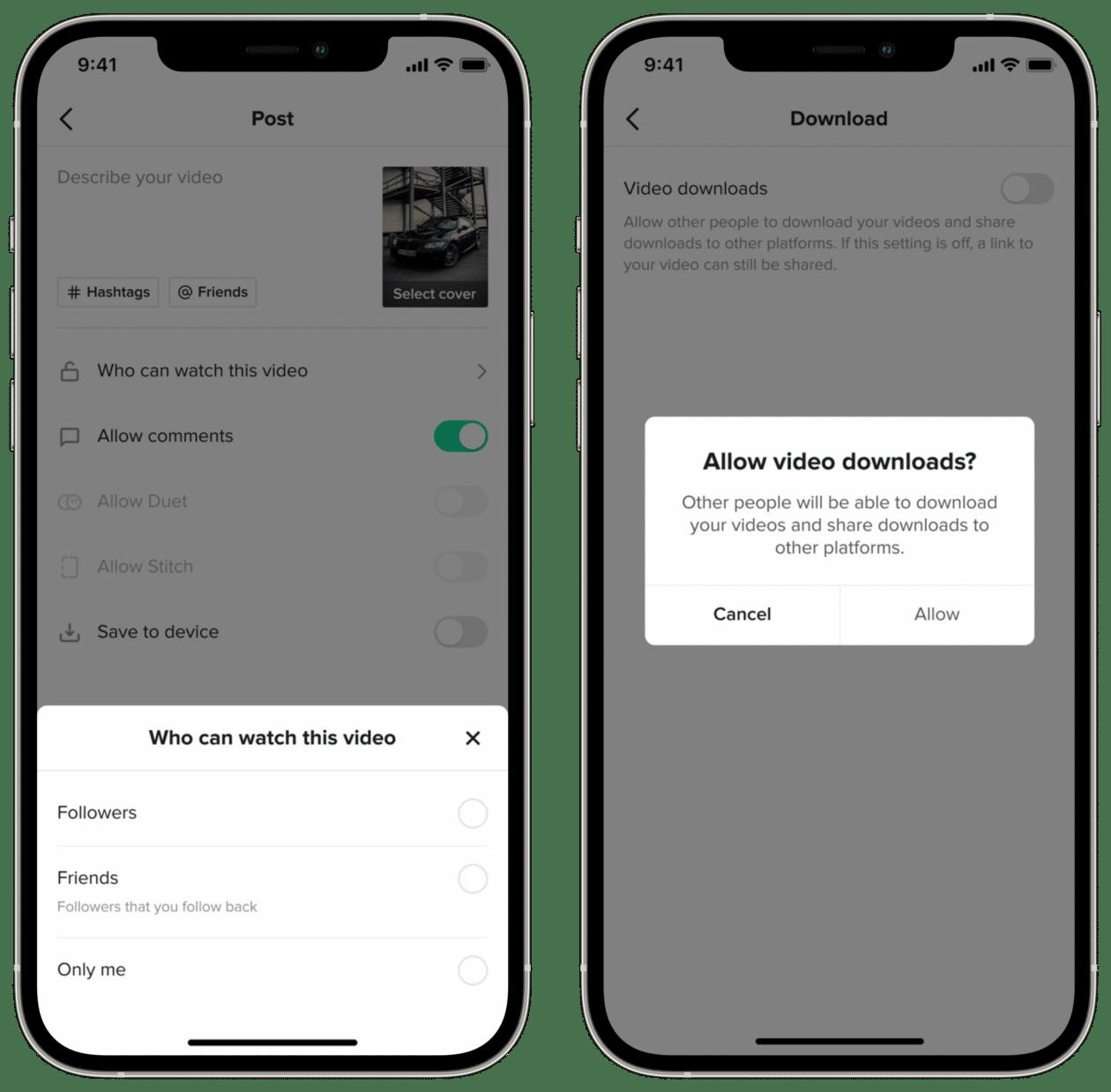 Funciones de privacidad de TikTok