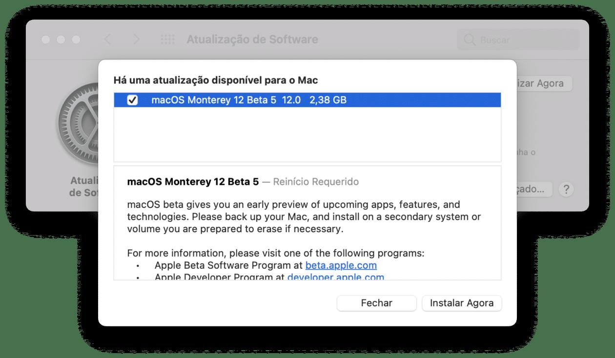Quinta versión beta de macOS Monterey 12